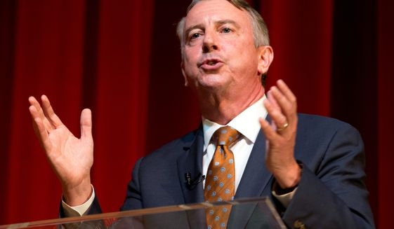Mr. Gillespie says if he wins Virginia's governorship, he will enlist state and local police to help enforce immigration laws. He says he would require businesses to use the E-Verify program.