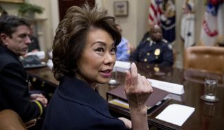 FILE - In this April 13, 2017 file photo, Transportation Secretary Elaine Chao speaks in the Roosevelt Room in the White House in Washington.  Chao said Monday, May 15, 2017, that the Trump administrations infrastructure plan will be out in a few weeks and include $200 billion in taxpayer money.  (AP Photo/Andrew Harnik, File)