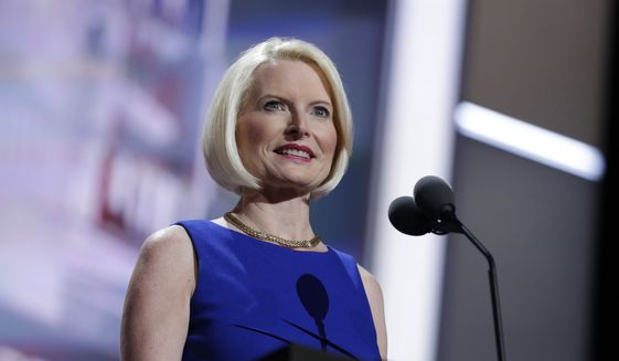 In this July 20, 2016, file photo, Callista Gingrich is seen during the Republican National Convention in Cleveland. The Trump administration has tapped Callista Gingrich, the wife of former House Speaker Newt Gingrich to be the next U.S. ambassador to the Vatican. (AP Photo/John Locher, File)