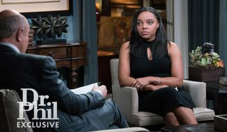 """This image released by CBS Television Distribution shows Shayanna Jenkins-Hernandez fiancee of former NFL player Aaron Hernandez during an interview on the """"Dr. Phil"""" show. The two-part interview is scheduled to air on Monday and Tuesday. (CBS Television Distribution via AP)"""