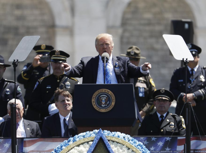 President Donald Trump speaks at the 36th Annual National Peace Officers' memorial service, Monday, May 15. 2017, on Capitol Hill in Washington. (AP Photo/Pablo Martinez Monsivais)