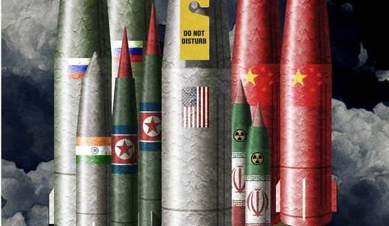 Illustration on the need for a U.S. revamp of it's nuclear missile capability in a changed world by Alexander Hunter/The Washington Times