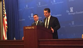 Masrour Barzani, Chancellor of the Kurdish Region Security Council, speaks at the Heritage Foundation in Washington, D.C. on Tuesday. The Chancellor is in the capitol to discuss ongoing cooperation between the Kurdistan Regional Government and the United States. (Laura Kelly)