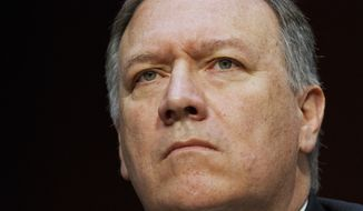 In the May 11, 2017 file photo, CIA Director Mike Pompeo listens while testifying on Capitol Hill in Washington. Pompeo will brief members of the House intelligence committee Tuesday, May 16, 2017. (AP Photo/Jacquelyn Martin, File)