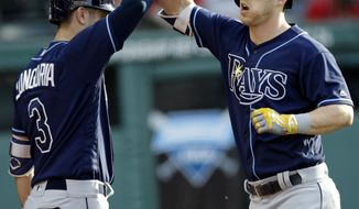 Tampa Bay Rays' Corey Dickerson, right, is congratulated by Evan Longoria after Dickerson hit a solo home run off Cleveland Indians starting pitcher Danny Salazar during the third inning of a baseball game, Tuesday, May 16, 2017, in Cleveland. (AP Photo/Tony Dejak)
