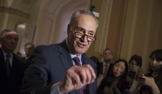 Senate Minority Leader Charles Schumer of N.Y. reacts to questions from reporters about President Donald Trump reportedly sharing classified information with two Russian diplomats during a meeting in the Oval Office, Tuesday, May 16, 2017, on Capitol Hill in Washington. (AP Photo/J. Scott Applewhite)