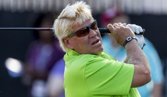 John Daly tees off on the first hole at the PGA Champions Tour Regions Tradition Pro-Am golf tournament, Wednesday, May 17, 2017, at Greystone Golf & Country Club in Hoover, Ala. (AP Photo/AL.com, Vasha Hunt via AP)