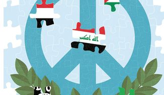 Illustration on the challenge of Middle East peace negotiations by Linas Garsys/The Washington Times