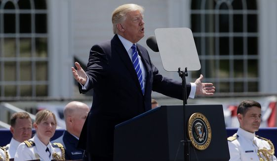 """Using his troubles as an example, President Trump told the graduating class at the Coast Guard Academy, """"You have to put your head down and fight, fight, fight. Never ever ever give up."""""""