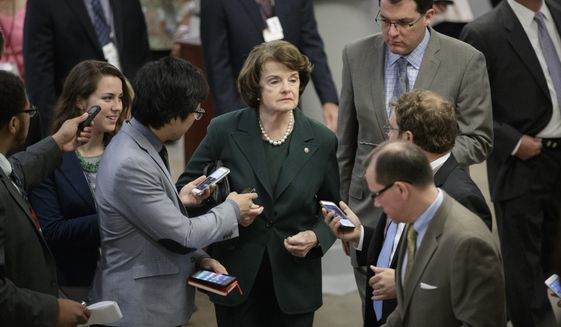 Sen. Dianne Feinstein, D-Calif., the ranking member on the Senate Judiciary Committee, speaks to reporters on Capitol Hill in Washington, Wednesday, May 17, 2017, on the controversies surrounding President Donald Trump's firing of FBI Director James Comey and his sharing of classified information with two Russian diplomats during a meeting in the Oval Office. (AP Photo/J. Scott Applewhite)