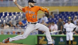 Houston Astros' Lance McCullers Jr. delivers a pitch during the first inning of a baseball game against the Miami Marlins, Wednesday, May 17, 2017, in Miami. (AP Photo/Wilfredo Lee)