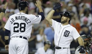 Detroit Tigers' Tyler Collins, right, is congratulated by J.D. Martinez after a three-run home run to right field during the fifth inning of a baseball game against the Baltimore Orioles, Wednesday, May 17, 2017, in Detroit. (AP Photo/Carlos Osorio)