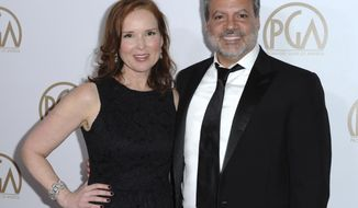 FILE - In this Jan. 23, 2016 file photo, Jennifer Todd, left, and Michael De Luca arrive at the 27th Annual Producers Guild Awards in Los Angeles. Todd and De Luca  will be reprising their roles as producers for the 90th Oscars on March 4, 2018. (Photo by Richard Shotwell/Invision/AP, File)