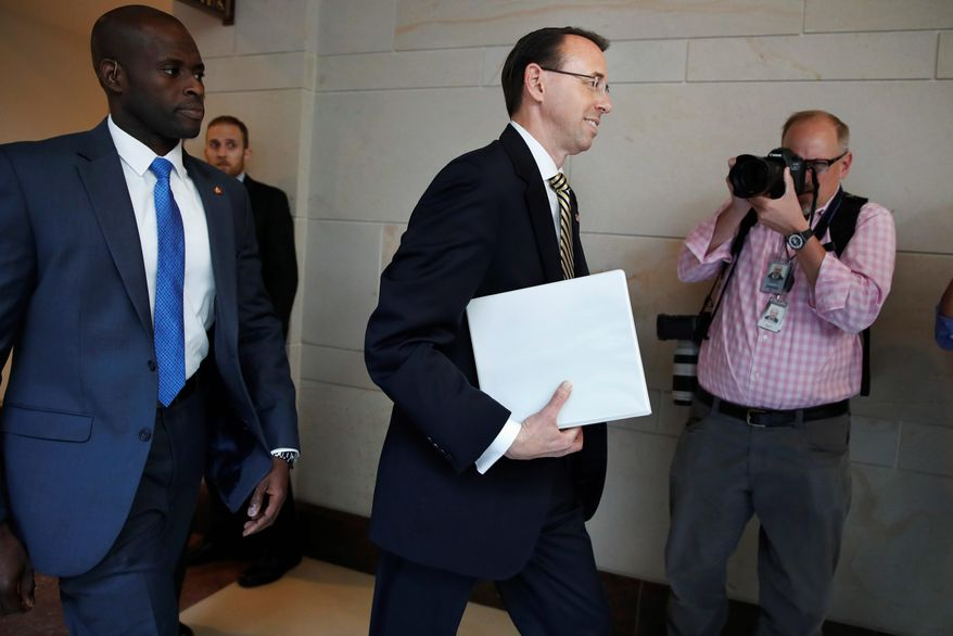 Deputy Attorney General Rod Rosenstein told senators that the president was intending to fire FBI Director James B. Comey. (Associated Press)