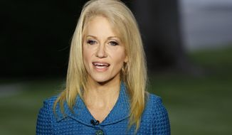 """FILE - In this Wednesday, May 10, 2017 file photo, Kellyanne Conway, senior adviser to President Donald Trump, speaks during an interview outside the White House, in Washington. Conway has told supporters in New Hampshire they should """"just ignore"""" his critics and the incessant chatter about the scandals dogging him. Conway was guest speaker Thursday, May 18, 2017, at the fundraising Spring to Victory dinner, hosted by the New Hampshire Republican State Committee in Nashua. (AP Photo/Evan Vucci, File)"""
