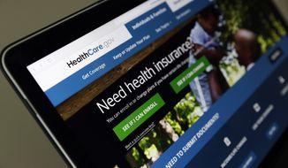 The Healthcare.gov website is seen on a laptop computer, Thursday, May 18, 2017, in Washington. (AP Photo/Alex Brandon) ** FILE **