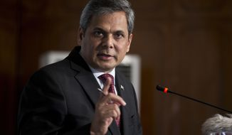 Pakistan's Foreign Ministry spokesman Nafees Zakaria briefs media at the Foreign Office in Islamabad, Pakistan, Thursday, May 18, 2017. Islamabad says Afghanistan has detained two Pakistani diplomats in Kabul. Pakistan's foreign ministry says it handed over a protest note to the Afghan deputy head of mission in Islamabad over the incident. (AP Photo/B.K. Bangash)