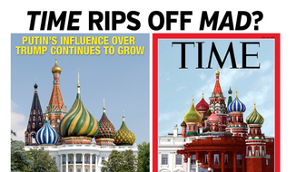 A side-by-side comparison of MAD Magazine and Time magazine covers that are strikingly similar. (MAD magazine) [http://www.madmagazine.com/blog/2017/05/18/time-magazine-rips-off-mad-magazine]