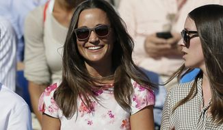 FILE - In this Friday, June 19, 2015 file photo, Pippa Middleton watches the quarterfinal tennis match between Canada's Milos Raonic and France's Gilles Simon on the fifth day of the Queen's Championships in London. 33-year-old Pippa Middleton is marrying a wealthy financier in the village of Englefield, west of London on Saturday May 20, 2017, with a guest list of young A-list royals and reality TV stars looking on. (AP Photo/Tim Ireland, File)