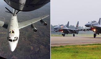 "This undated combination of photos shows the U.S. Air Force WC-135W Constant Phoenix aircraft during flight, left, and two Chinese SU-30 fighter jets taking off. A pair of Chinese fighter jets conducted an ""unprofessional"" intercept of an American radiation-sniffing surveillance plane over the East China Sea, the U.S. Air Force said Friday, May 19, 2017, the latest in a series of such incidents that have raised U.S. concerns in an already tense region. (U.S. Air Force and Xinhua via AP)"