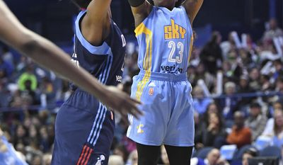 Chicago Sky guard Cappie Pondexter (23) goes up for a shot against the Atlanta Dream during the first half of a WNBA basketball game Friday, May 19, 2017, in Rosemont, Ill. (Patrick Gorski/Chicago Tribune via AP)