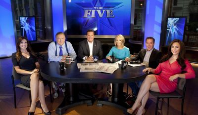"""FILE - This July 1, 2013 file photo shows, Kimberly Guilfoyle, from left, Bob Beckel, Eric Bolling, Dana Perino, Greg Gutfeld and Andrea Tantaros co-hosts of Fox News Channel's """"The Five,"""" following a taping of the show in New York.  Fox News Channel says it has fired  Beckel for making an insensitive remark to a black employee. Beckel, who has been a liberal panelist on the show """"The Five,"""" was on his second tour of duty at Fox after being bounced in 2015 for substance abuse. (Photo by Carlo Allegri/Invision/AP, File)"""