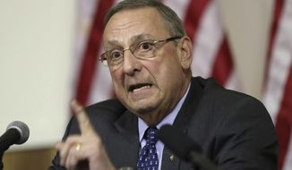FILE- In this March 8, 2017, file photo, Maine Gov. Paul LePage speaks at a town hall meeting in Yarmouth, Maine. President Donald Trump's administration says Maine still hasn't provided enough details on the governor's plan to ban food stamps for soda and candy purchases. GOP Governor Paul LePage's administration had expressed optimism that the new administration would be more receptive to such proposals.  (AP Photo/Robert F. Bukaty, File)