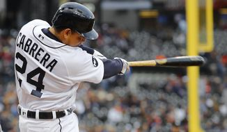 Detroit Tigers' Miguel Cabrera hits a solo home run against the Texas Rangers in the first inning of a baseball game in Detroit, Saturday, May 20, 2017. (AP Photo/Paul Sancya)