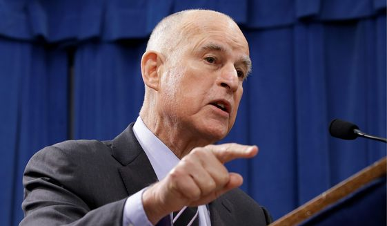"""California Gov. Jerry Brown called opponents of instate gas price increases """"freeloaders,"""" which has been pounced on by the state GOP. (Associated Press)"""