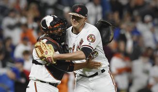 Baltimore Orioles pitcher Brad Brach, right, and catcher Welington Castillo celebrate their win over the Toronto Blue Jays in a baseball game, Saturday, May 20, 2017, in Baltimore. (AP Photo/Gail Burton)