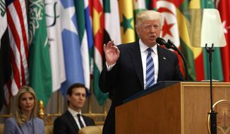 President Donald Trump delivers a speech to the Arab Islamic American Summit, at the King Abdulaziz Conference Center, Sunday, May 21, 2017, in Riyadh, Saudi Arabia. (AP Photo/Evan Vucci)