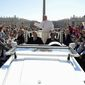 Pope Francis waves to the crowd during his weekly general audience, in St. Peter's Square at the Vatican, Wednesday, May 17, 2017. (L'Osservatore Romano/Pool Photo via AP)