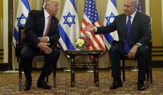 President Donald Trump meets with Israeli Prime Minister Benjamin Netanyahu, Monday, May 22, 2017, in Jerusalem. (AP Photo/Evan Vucci)