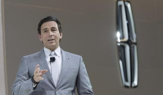 In this April 12, 2017, file photo, Ford Motor Co. President and CEO Mark Fields speaks during a media preview of the 2018 Lincoln Navigator at the New York International Auto Show in New York. (AP Photo/Mary Altaffer, File)