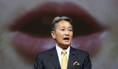 Sony Corp. Chief Executive Kazuo Hirai outlines its strategy at the company's headquarters in Tokyo Tuesday, May 23, 2017. Sony's leader is promising a comeback for the Japanese electronics and entertainment company having its best profitability in two decades. (AP Photo/Eugene Hoshiko)