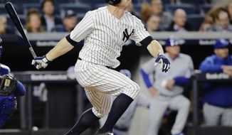 New York Yankees' Brett Gardner (11) follows through on a home run during the third inning of a baseball game against the Kansas City Royals, Monday, May 22, 2017, in New York. (AP Photo/Frank Franklin II)