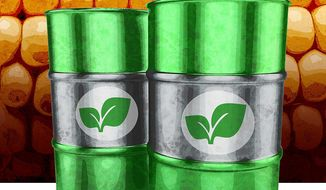 Illustration on the benefits of biofuel by Greg Groesch/The Washington Times