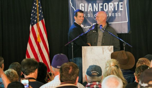 Republican Greg Gianforte (right) opposed the GOP's overhaul of Obamacare but said he defends the House GOP caucus for making an effort to amend health care policy. However, Democrat Rob Quist said that may not be enough for Montana voters, and he urged them to send Mr. Gianforte a message at the ballot box. (Associated Press)
