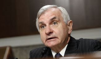 Sen. Jack Reed, D-R.I., ranking member on the Senate Armed Services Committee, speaks on Capitol Hill in Washington, Tuesday, May 23, 2017, during the committee's hearing on worldwide threats. (AP Photo/Jacquelyn Martin)