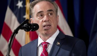 """FILE- In this April 27, 2017, photo, Veterans Affairs Secretary David Shulkin speaks at the Department of Veterans Affairs in Washington. The House approved legislation Tuesday, May 23, to cut the time it takes for the Department of Veterans Affairs to handle appeals from veterans unhappy with their disability payouts. The bill would overhaul the current VA appeals process, long described by Shulkin and his predecessors as """"broken."""" (AP Photo/Andrew Harnik, File)"""