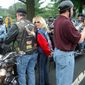 Nancy Sinatra with Artie Muller at a Rolling Thunder demonstration. Image courtesy of Nancy Sinatra.