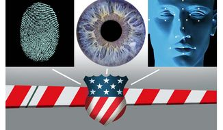 Illustration on biometric screening security measures by Alexander Hunter/The Washington Times
