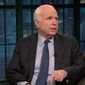 "Sen. John McCain told ""Late Night"" host Seth Meyers Tuesday night that Americans should stop paying so much attention to every comment President Trump makes and start focusing on his actions. (NBC)"