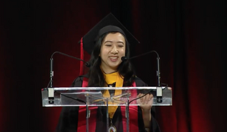 Yang Shuping, University of Maryland class of 2017, is shown in a screen capture from YouTube from her commencement remarks. (YouTube) Ms. Yang was widely criticized on Chinese social media outlets for remarks she made that were critical of China and laudatory of the breadth of social and political freedom in the United States. She has since apologized on the Weibo Chinese-language social-media platform.