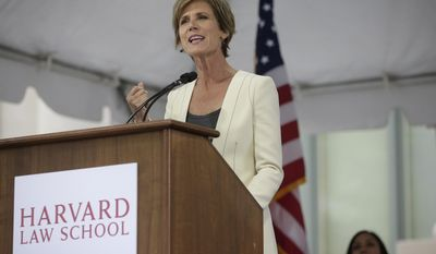 Former U.S. Deputy Attorney General Sally Yates delivers an address at Harvard Law School Class Day 2017 on Wednesday, May 24, 2017, at Harvard University, in Cambridge, Mass. (AP Photo/Steven Senne)