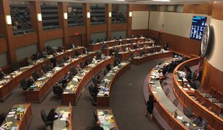 The New Mexico House of Representative grapples with a state budget crisis during a special session on Wednesday May 24, 2017, in Santa Fe, N.M. (AP Photo/Morgan Lee)