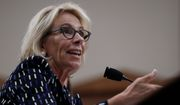 Education Secretary Betsy DeVos fought back after letters to 77 colleges rejecting Upward Bound grant applications were declined because of spacing issues. (Associated Press)