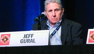 Jeff Gural, operator of the Meadowlands Racetrack, speaks at a gambling conference in Atlantic City N.J. on Thursday May 25, 2017, at which he said that a proposal to build a casino at his track just outside New York City can wait for six years. A referendum that would have allowed it was defeated last November by an 80-20 margin. (AP Photo/Wayne Parry)
