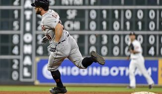 Detroit Tigers' Tyler Collins rounds second on his way to a triple during the ninth inning of a baseball game against the Houston Astros, Wednesday, May 24, 2017, in Houston. (AP Photo/Eric Christian Smith)
