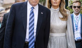 U.S. President Donald Trump an First Lady Melania arrive a concert in the Ancient Theatre of Taormina ( 3rd century BC) in the Sicilian citadel of Taormina, Italy, Friday, May 26, 2017. Leaders of the G7 meet Friday and Saturday, including newcomers Emmanuel Macron of France and Theresa May of Britain in an effort to forge a new dynamic after a year of global political turmoil amid a rise in nationalism. (Angelo Carconi/ANSA via AP)